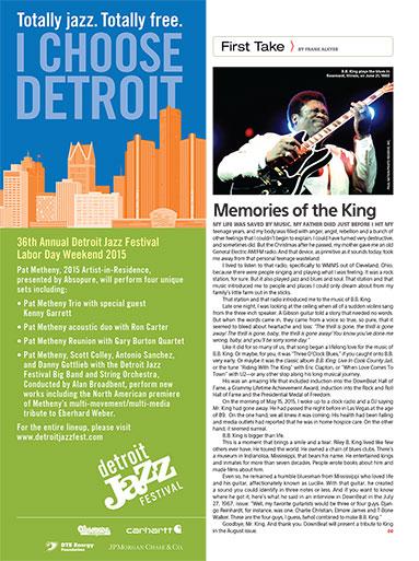 Extraits de Down Beat de juin 2015, annonce du festival de jazz de Detroit et la mort de BB King.