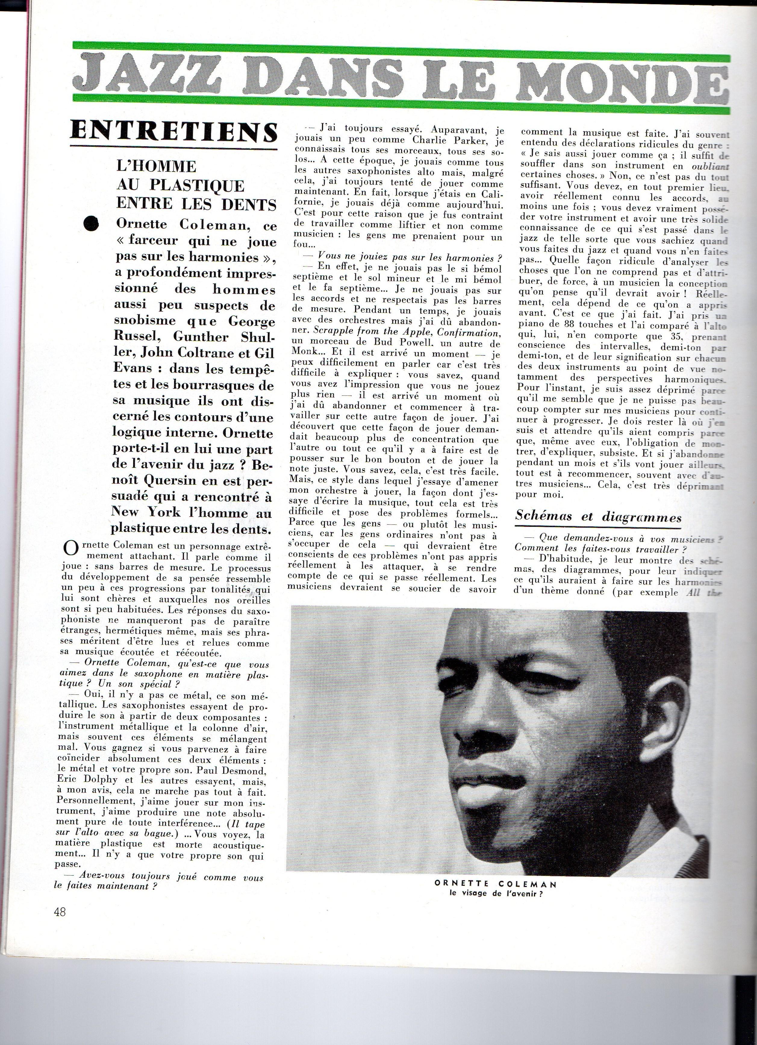 Entretien avec Ornette dans jazz mag de décembre 1962. Photo reproduite de l'album Contemporary.
